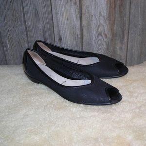 Amalfi Sallena Black Leather Peep Toe Flats size 9